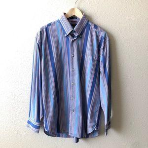 Tommy Hilfiger Striped Button Down Dress Shirt Med